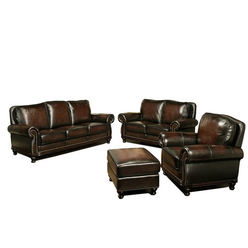 Barclay 4 Piece Hand Rubbed Leather Sofa, Loveseat, Armchair, and Ottoman