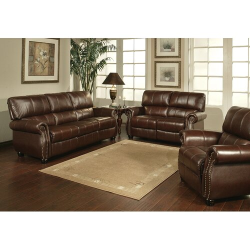 Houston Italian Leather Sofa, Loveseat and Armchair Set
