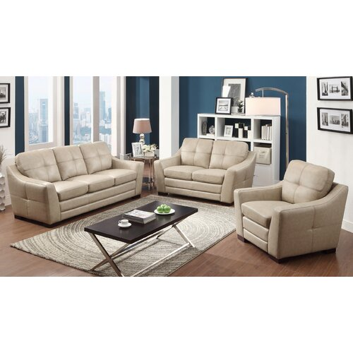 Eileen Top Grain Leather Sofa, Loveseat and Arm Chair Set
