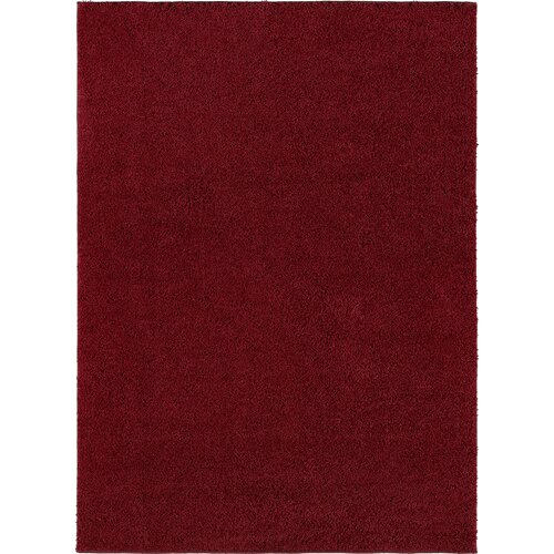 City Shag Solid Red Area Rug