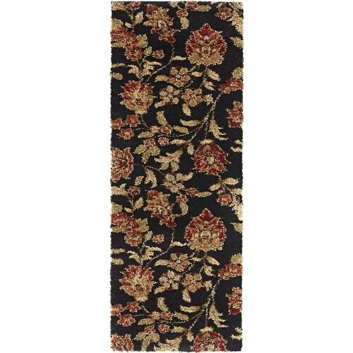 Fashion Shag Black Floral Rug