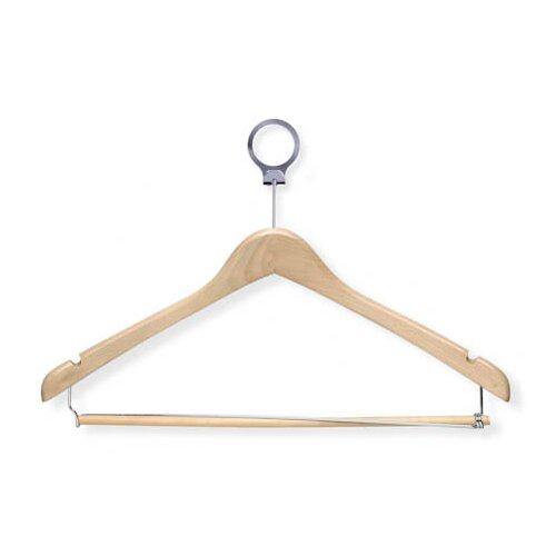 Hotel Suit Hanger in Maple with Locking Bar (24 Pack)