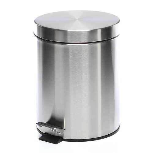 Honey Can Do 1.32-Gal. Round Stainless Steel Step Trash Can