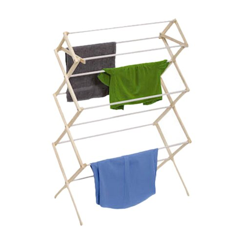 29 Linear Feet Knockdown Drying Rack in White/Natural