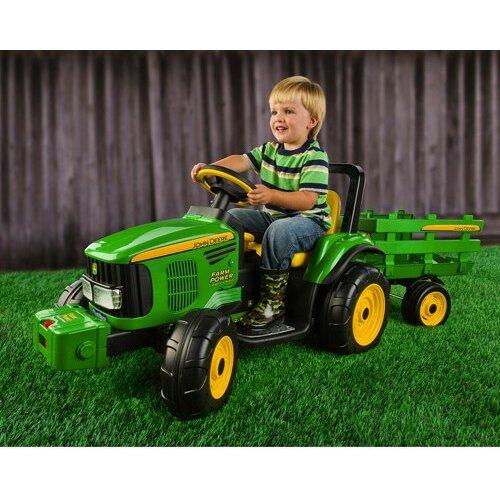 Peg Perego John Deere 12v Battery Ed Tractor With Trailer