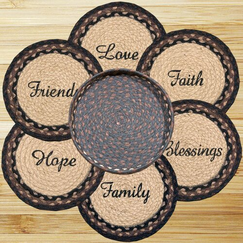 7 Piece Blessings Trivets in a Basket Set