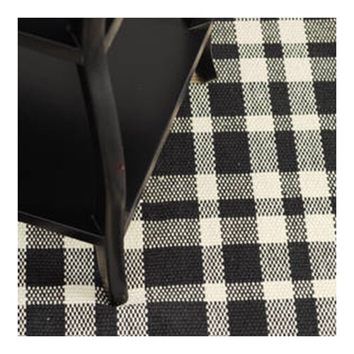 Dash and Albert Rugs Woven Tattersall Black/Ecru Rug