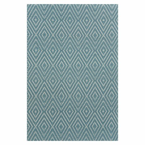 Woven Diamond Slate/Light Blue Indoor/Outdoor Rug