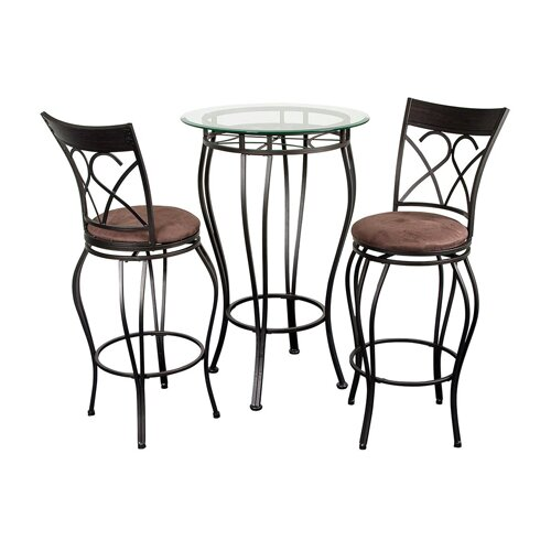 Hazelwood Home 3 Piece Pub Table Set