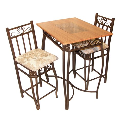 Hazelwood Home Barcelona 3 Piece Counter Height Pub Table Set