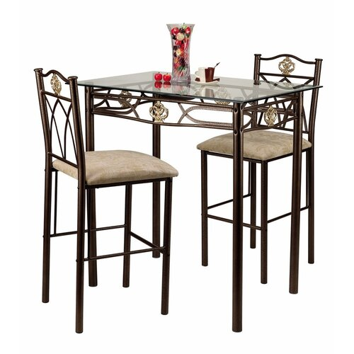 Hazelwood Home 3 Piece Counter Height Pub Table Set