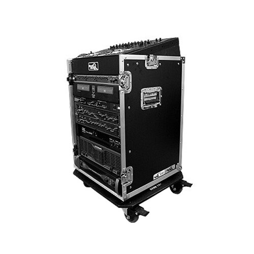 Road Ready Cases DJ / Mi Slant Rack System - 10U Slant Mixer Rack / Vertical with Caster Board