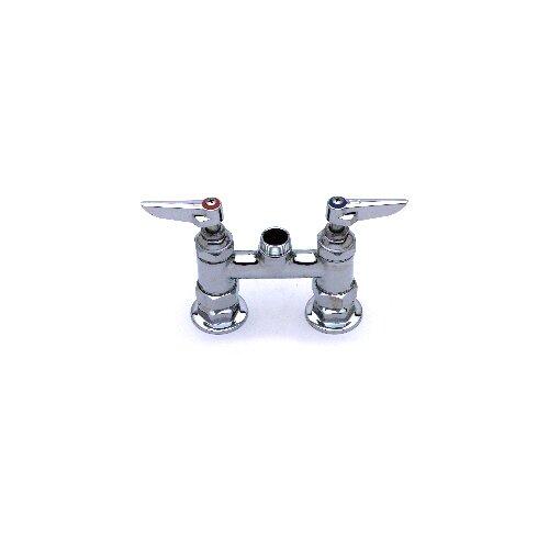 "T&S Brass Deck Mount Centerset Faucet with 10"" Swing Spout"