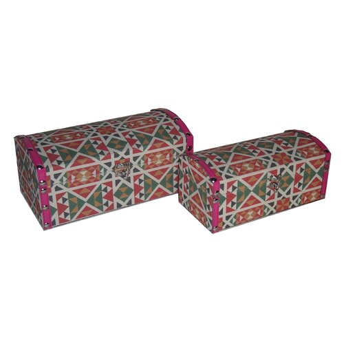 2 Piece Round Top Keepsake Box with Mojave Design Set