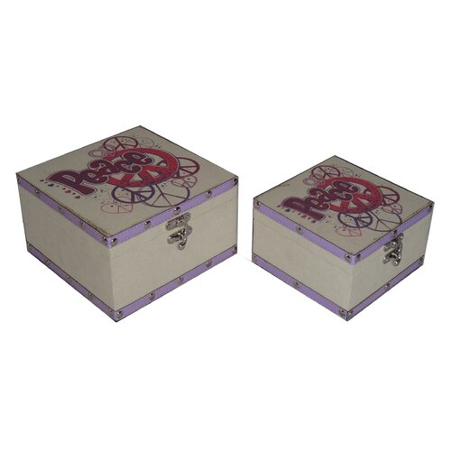 2 Piece Flat Top Square Keep Sake Box with Colorful Peace Design Set