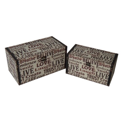 2 Piece Flat Top Keepsake Boxes Set