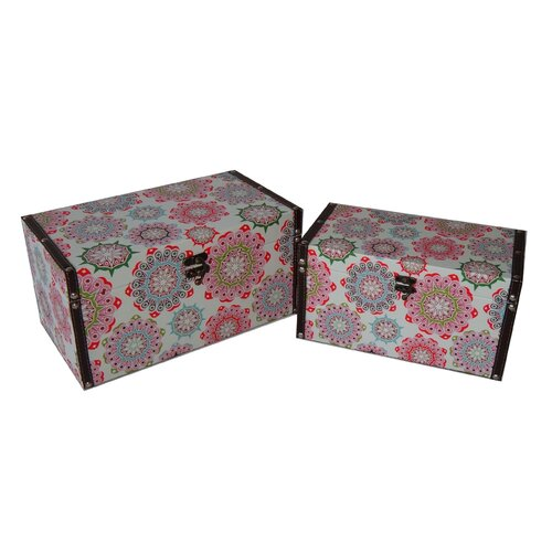 2 Piece Flat Top Keepsake Boxes with Kaleidoscope Design Set