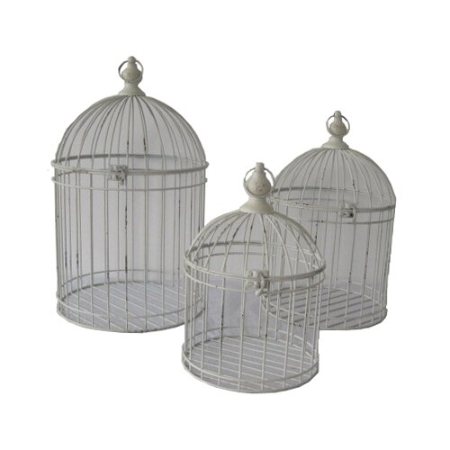 3 Piece Open Air Shabby Decorative Bird Cage Set