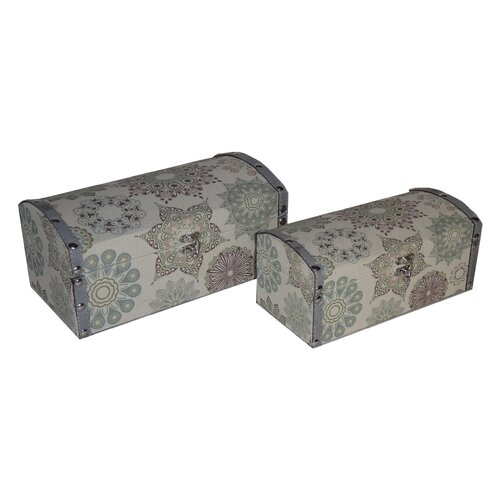 2 Piece Round Top Keepsake Box with Kaleidoscope Design Set