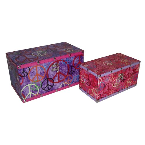 3 Piece Flat Top Keepsake Box with Peace Symbols Set