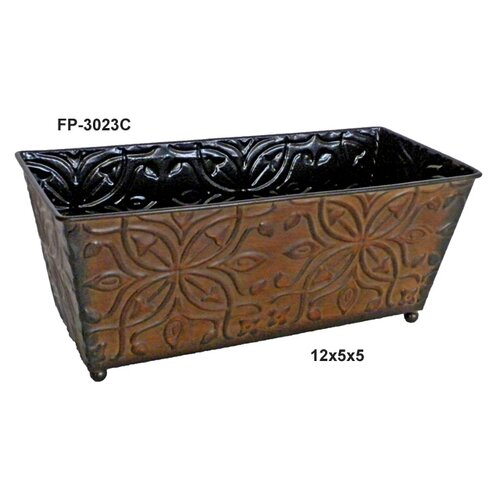 Cheungs Metal Ledge Planter with Pressed Four Petal Flower