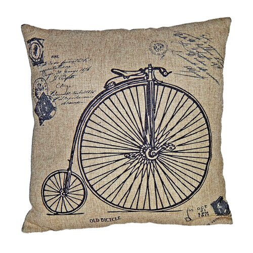 Square Pillow with High Wheeler Bicycle