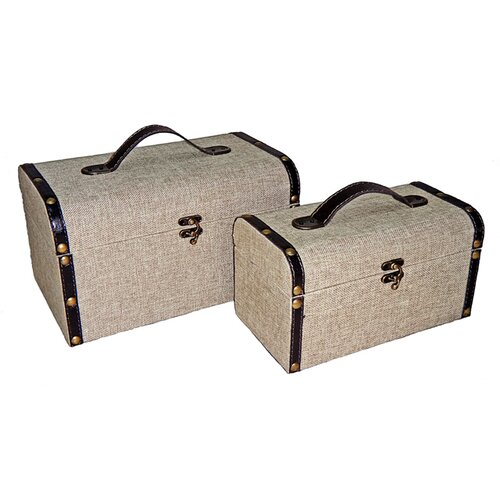 Case with 2 Handles on top in Plain Linen (Set of 2)