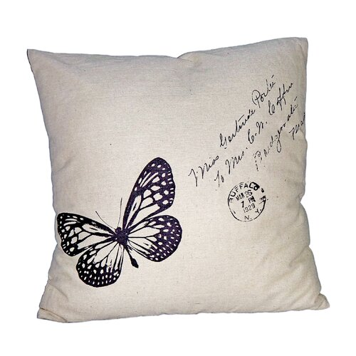 """Cheungs 18"""" Square Pillow with Butterfly"""
