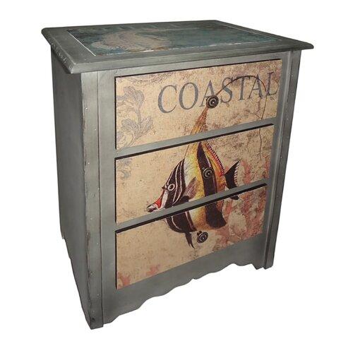 Cheungs 3 Drawer Coastal Cabinet