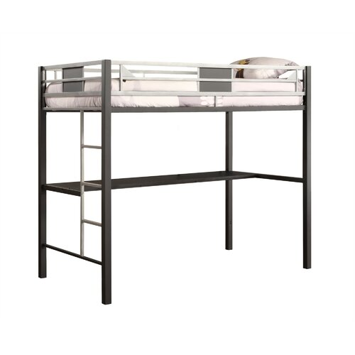 Dhp Silver Screen Twin Low Loft Bed With Desk And Built In