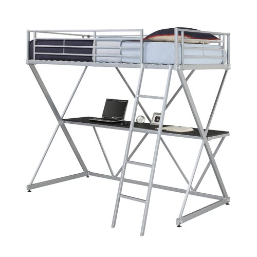 DHP X Shaped Twin Low Loft Bed with Desk