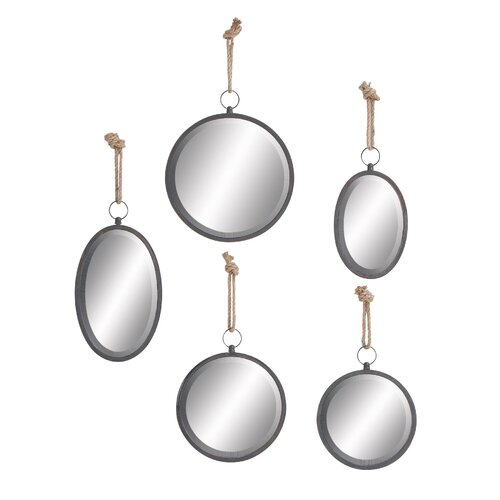 5 Piece Metal Mirror with Rope Set