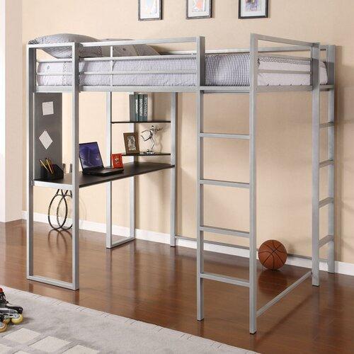 DHP Abode Full Loft Bed with Desk and Bookshelves