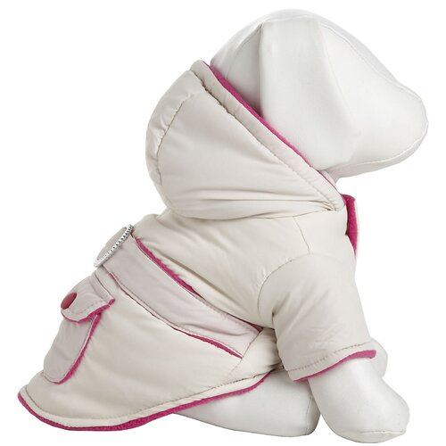 Two-Tone Jewel Dog Jacket with Hood in Beige / Pink