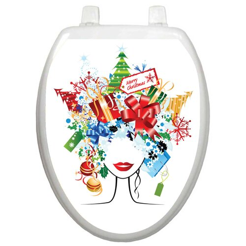 Toilet Tattoos Holiday Christmas Lady Toilet Seat Decal