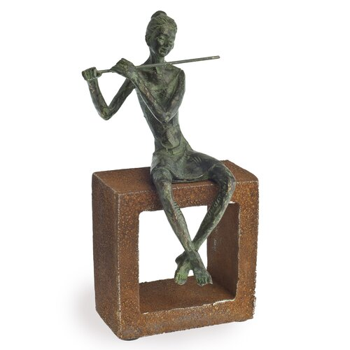 Danya B Flute Player on Rustic Stand Figurine