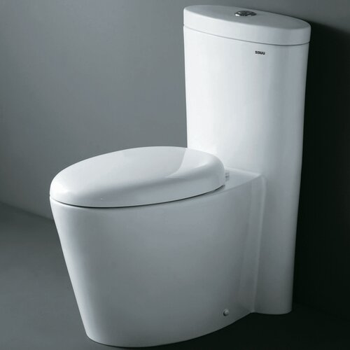 Ariel Bath Monterey Contemporary Elongated 1 Piece Toilet with Dual Flush