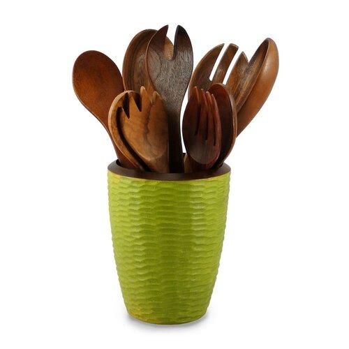 Enrico Casual Dining Utensil Vase in Avocado and Dark Brown Lacquer