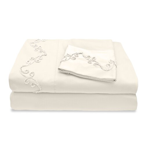 1200 Thread Count Egyptian Cotton Sheet Set with Chenille Scroll