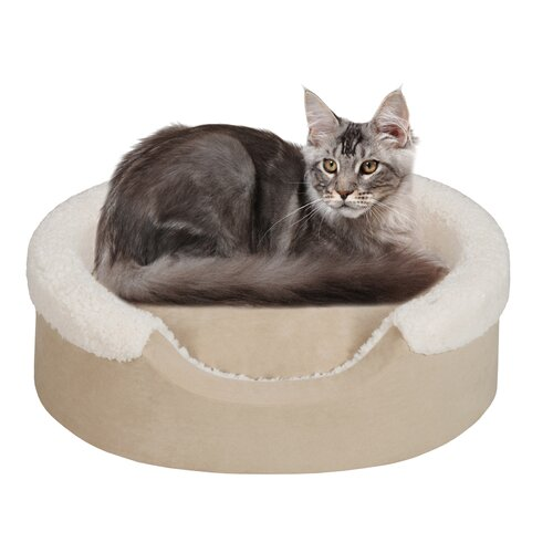 Tan Faux Suede Oval Cuddler Bolster Dog Bed