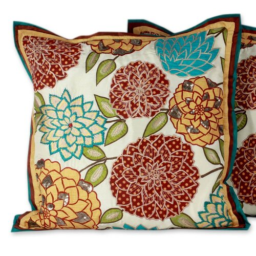 Novica The Seema Applique Cushion Cover