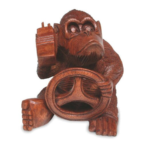 Novica Chimp at the Wheel Figurine