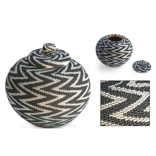 Novica Night Thunder Beaded Basket