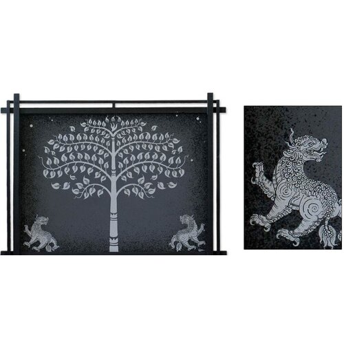 Novica Silver Bo Tree with Lions by Parinya Nanjai Framed Graphic Art