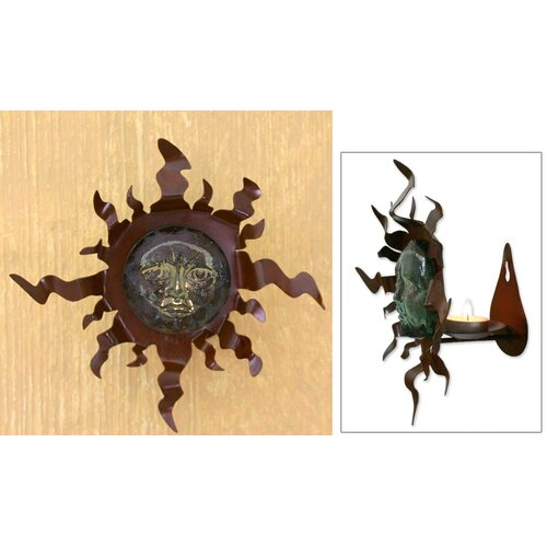 Novica Crystal Sun Blown Glass and Iron Sconce