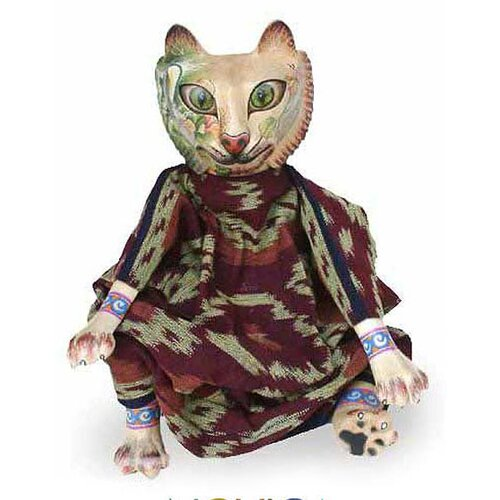 Novica 'Cat Who Loves Nature' Display Doll Figurine