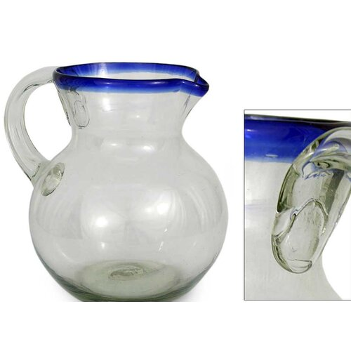 Novica Cobalt Ring Glass pitcher