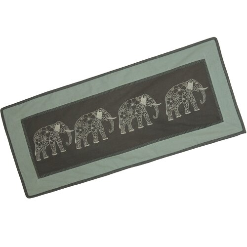 Thanyarat Sananpanich Artisan Four Floral Elephants Cotton Table Runner