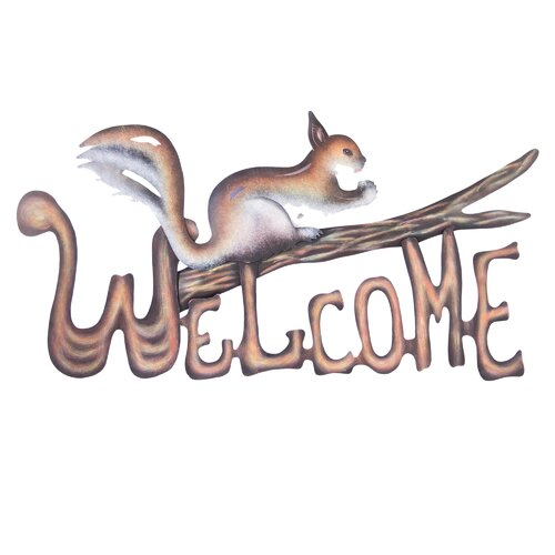 Novica Alejandro de Esesarte Artisan Busy Squirrel Welcome Sign Wall Décor