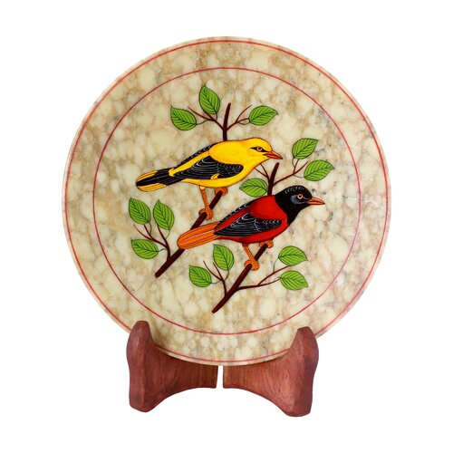 Novica The Ganesh Sharma Artisan Sunset Birds Soapstone Plate